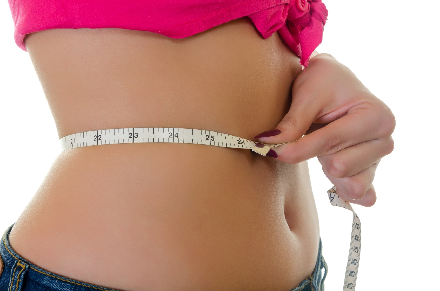 Close-up of Girl Measure the Waist, Centimeters Tape, Horizontal shot over White Background
